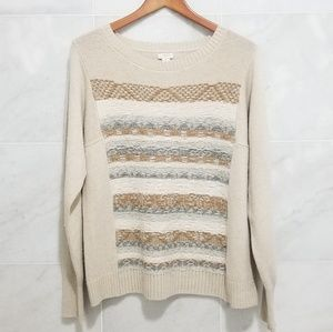 J.Crew Cream Striped Sweater